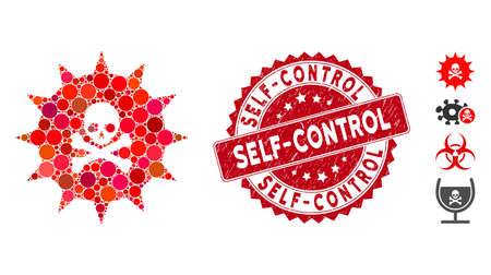 Mosaic viral toxin icon and rubber stamp seal with Self-Control caption. Mosaic vector is formed with viral toxin icon and with random round spots. Self-Control seal uses red color,