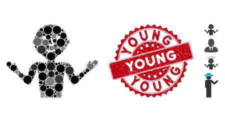 Mosaic young guru icon and grunge stamp watermark with Young phrase. Mosaic vector is formed with young guru pictogram and with random circle spots. Young stamp uses red color, and grunge texture.