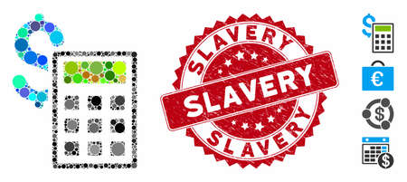 Collage accounting icon and rubber stamp seal with Slavery text. Mosaic vector is designed with accounting icon and with randomized spheric items. Slavery stamp seal uses red color,
