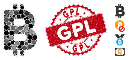 Collage Bitcoin icon and distressed stamp seal with GPL phrase. Mosaic vector is composed with Bitcoin icon and with scattered round spots. GPL stamp seal uses red color, and grunge texture. 向量圖像