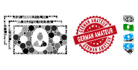 Mosaic banknotes icon and rubber stamp seal with German Amateur phrase. Mosaic vector is composed with banknotes icon and with random spheric elements. German Amateur stamp seal uses red color,