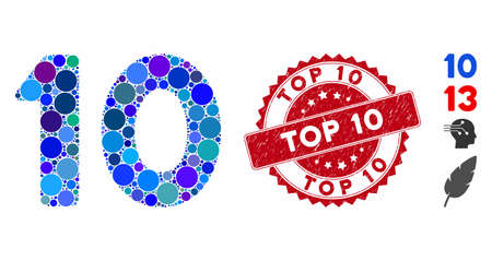 Mosaic 10 digits text icon and distressed stamp seal with Top 10 phrase. Mosaic vector is created with 10 digits text icon and with random round items. Top 10 stamp seal uses red color,