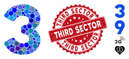 Mosaic 3 digit icon and grunge stamp seal with Third Sector text. Mosaic vector is composed from 3 digit pictogram and with scattered round items. Third Sector seal uses red color, and grunge texture.