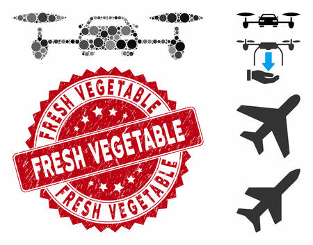Mosaic air car icon and rubber stamp seal with Fresh Vegetable text. Mosaic vector is created with air car pictogram and with random spheric elements. Fresh Vegetable seal uses red color, Ilustracja