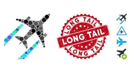 Mosaic air jet trace icon and distressed stamp seal with Long Tail text. Mosaic vector is designed with air jet trace pictogram and with randomized circle spots. Long Tail stamp seal uses red color, Illustration