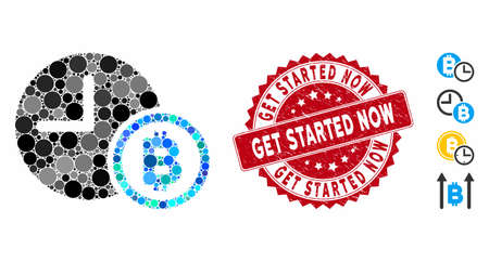 Collage Bitcoin credit clock icon and distressed stamp seal with Get Started Now phrase. Mosaic vector is formed from Bitcoin credit clock icon and with randomized round items. 일러스트