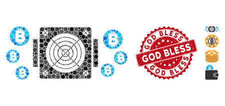 Mosaic Bitcoin mining ASIC device icon and grunge stamp seal with God Bless phrase. Mosaic vector is designed from Bitcoin mining ASIC device icon and with scattered spheric items.