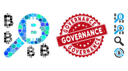 Collez l'icône de recherche Bitcoin et le sceau de timbre en détresse avec le texte de la gouvernance. Le vecteur mosaïque est composé d'une icône de recherche Bitcoin et de taches circulaires dispersées. Le sceau du timbre de gouvernance utilise la couleur rouge, Vecteurs