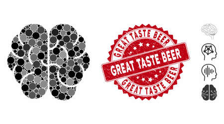 Collage brain icon and grunge stamp seal with Great Taste Beer text. Mosaic vector is designed from brain icon and with randomized circle items. Great Taste Beer stamp seal uses red color, Ilustrace