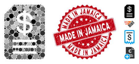 Mosaic budget invoice icon and rubber stamp watermark with Made in Jamaica phrase. Mosaic vector is formed from budget invoice icon and with random circle spots. Made in Jamaica stamp uses red color,