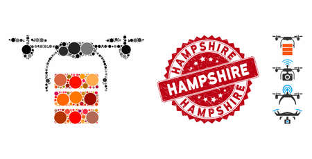 Mosaic cargo drone icon and rubber stamp watermark with Hampshire text. Mosaic vector is composed with cargo drone pictogram and with randomized round elements. Hampshire stamp seal uses red color,