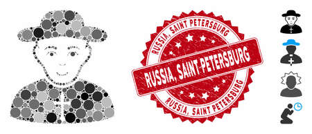 Collage Christian priest icon and rubber stamp watermark with Russia, Saint Petersburg phrase. Mosaic vector is designed with Christian priest icon and with scattered circle spots. Russia,