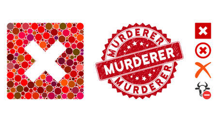 Mosaic close icon and grunge stamp seal with Murderer text. Mosaic vector is composed with close icon and with randomized circle elements. Murderer stamp seal uses red color, and grunge texture. Vectores