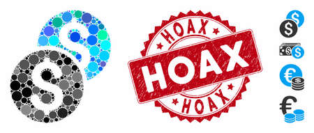 Mosaic coins icon and rubber stamp watermark with Hoax text. Mosaic vector is formed with coins icon and with randomized spheric spots. Hoax stamp uses red color, and rubber design.