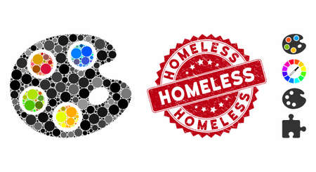 Collage color palette icon and grunge stamp watermark with Homeless caption. Mosaic vector is created with color palette icon and with randomized spheric items. Homeless stamp uses red color,