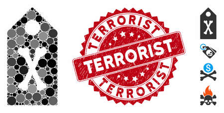 Mosaic dead marker icon and grunge stamp seal with Terrorist text. Mosaic vector is composed with dead marker pictogram and with randomized round spots. Terrorist stamp uses red color,