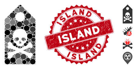 Mosaic death mark icon and rubber stamp seal with Island phrase. Mosaic vector is composed with death mark icon and with scattered spheric items. Island stamp seal uses red color,