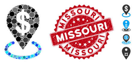 Mosaic dollar placement icon and rubber stamp seal with Missouri text. Mosaic vector is composed with dollar placement icon and with scattered circle items. Missouri stamp seal uses red color, Ilustração