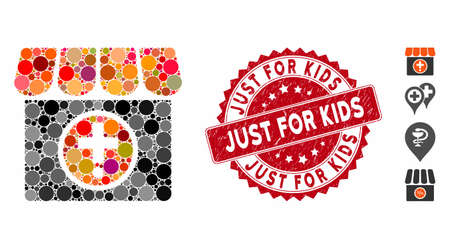 Mosaic drugstore icon and grunge stamp watermark with Just for Kids caption. Mosaic vector is formed with drugstore icon and with random circle items. Just for Kids seal uses red color,