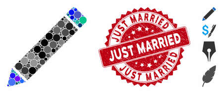 Mosaic edit icon and grunge stamp seal with Just Married phrase. Mosaic vector is created from edit icon and with random spheric items. Just Married stamp uses red color, and rubber design.