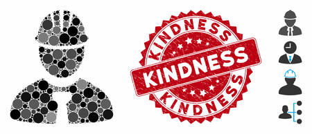 Mosaic engineer icon and rubber stamp seal with Kindness text. Mosaic vector is created from engineer pictogram and with scattered round spots. Kindness stamp seal uses red color, and rubber surface. Illusztráció