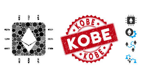 Mosaic Ethereum crystal chip icon and distressed stamp seal with Kobe caption. Mosaic vector is designed with Ethereum crystal chip icon and with randomized round items. Kobe seal uses red color,