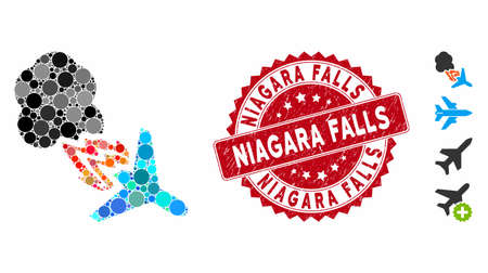Mosaic fired airplane icon and corroded stamp seal with Niagara Falls caption. Mosaic vector is composed with fired airplane icon and with randomized circle elements. Illustration