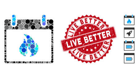 Mosaic flame calendar day icon and rubber stamp seal with Live Better phrase. Mosaic vector is created with flame calendar day icon and with scattered spheric spots. Live Better stamp uses red color,