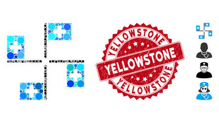 Mosaic hospital flags icon and rubber stamp seal with Yellowstone text. Mosaic vector is designed from hospital flags icon and with random round spots. Yellowstone stamp seal uses red color,