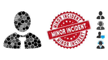 Collage manager icon and rubber stamp watermark with Minor Incident caption. Mosaic vector is created with manager icon and with scattered circle items. Minor Incident stamp uses red color,