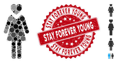 Mosaic mistress icon and distressed stamp seal with Stay Forever Young phrase. Mosaic vector is designed with mistress icon and with scattered circle elements. Illusztráció