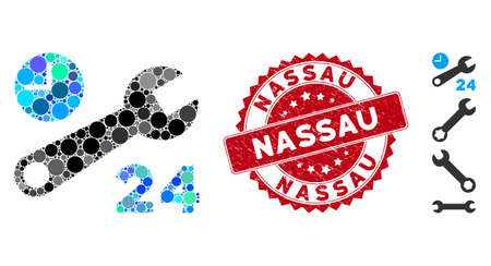 Collage nonstop service hours icon and grunge stamp watermark with Nassau text. Mosaic vector is composed with nonstop service hours icon and with randomized circle items. Nassau stamp uses red color, Ilustração