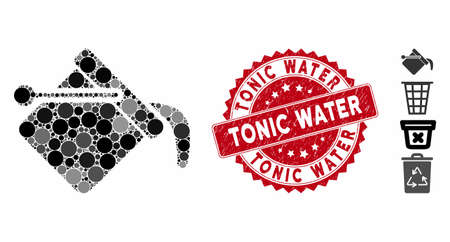 Mosaic paint bucket icon and rubber stamp watermark with Tonic Water text. Mosaic vector is created with paint bucket icon and with scattered spheric elements. Tonic Water stamp uses red color,