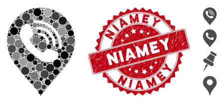 Mosaic phone call marker icon and rubber stamp seal with Niamey text. Mosaic vector is composed with phone call marker icon and with random round items. Niamey stamp seal uses red color, Фото со стока - 135280380