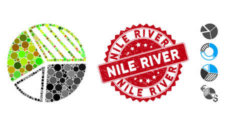 Collage pie chart icon and corroded stamp seal with Nile River caption. Mosaic vector is created with pie chart icon and with randomized spheric elements. Nile River stamp seal uses red color,