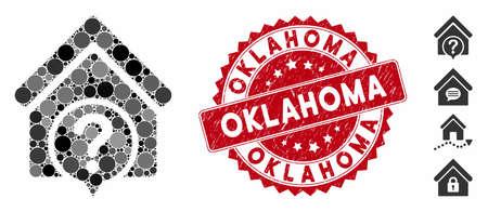 Icône d'état de l'immobilier de collage et joint de tampon en caoutchouc avec le texte de l'Oklahoma. Le vecteur mosaïque est créé avec l'icône de l'état de l'immobilier et avec des taches rondes aléatoires. Le sceau du timbre de l'Oklahoma utilise la couleur rouge, Vecteurs