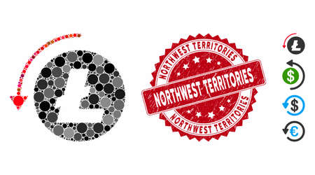 Mosaic refund Litecoin icon and distressed stamp seal with Northwest Territories text. Mosaic vector is composed with refund Litecoin icon and with randomized circle items.