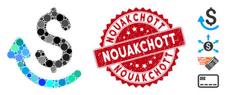 Mosaic repay icon and grunge stamp seal with Nouakchott caption. Mosaic vector is created with repay icon and with randomized spheric spots. Nouakchott stamp seal uses red color, and dirty design.