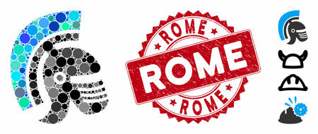 Collage Rome helmet icon and corroded stamp seal with Rome text. Mosaic vector is designed with Rome helmet icon and with scattered spheric elements. Rome stamp seal uses red color,