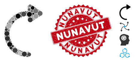 Mosaic rotate CW icon and corroded stamp seal with Nunavut text. Mosaic vector is designed with rotate CW pictogram and with randomized round elements. Nunavut stamp seal uses red color,