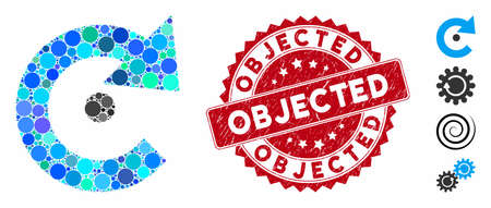 Mosaic rotation center icon and distressed stamp seal with Objected caption. Mosaic vector is formed from rotation center icon and with random spheric spots. Objected stamp uses red color,