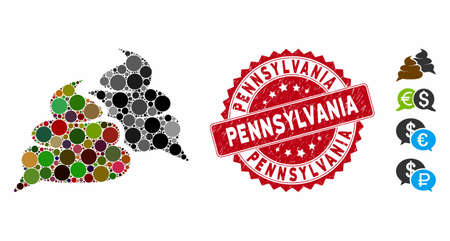 Mosaic shit chat icon and corroded stamp seal with Pennsylvania phrase. Mosaic vector is composed with shit chat icon and with randomized spheric spots. Pennsylvania stamp seal uses red color,
