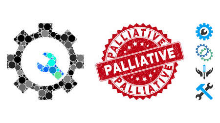 Mosaic service tools icon and corroded stamp seal with Palliative text. Mosaic vector is composed with service tools pictogram and with randomized spheric spots. Palliative stamp seal uses red color, Illusztráció
