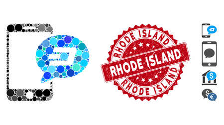 Mosaic smartphone Dash message icon and distressed stamp watermark with Rhode Island caption. Mosaic vector is designed from smartphone Dash message icon and with randomized circle spots. 일러스트