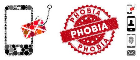 Mosaic smartphone message phishing icon and rubber stamp seal with Phobia caption. Mosaic vector is designed from smartphone message phishing icon and with scattered round spots. Ilustração