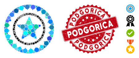 Mosaic star medal seal icon and grunge stamp seal with Podgorica text. Mosaic vector is formed with star medal seal icon and with scattered spheric elements. Podgorica stamp uses red color,