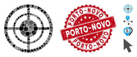 Mosaic target icon and distressed stamp seal with Porto-Novo text. Mosaic vector is composed with target icon and with random round spots. Porto-Novo stamp seal uses red color, and rubber design.