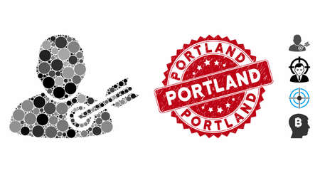 Collage target user icon and grunge stamp watermark with Portland caption. Mosaic vector is formed with target user icon and with random circle spots. Portland stamp seal uses red color,