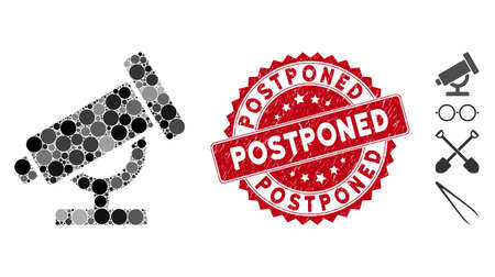 Mosaic telescope icon and distressed stamp seal with Postponed phrase. Mosaic vector is composed with telescope icon and with random spheric spots. Postponed stamp uses red color, and rubber design.