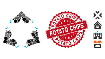 Mosaic tent camp icon and distressed stamp seal with Potato Chips phrase. Mosaic vector is created with tent camp icon and with random circle spots. Potato Chips stamp seal uses red color,